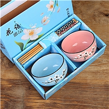 美烧 日式青花瓷陶碗筷套装 (颜色随机)