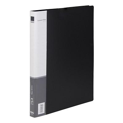得力 PP文件夹 (黑) A4 单强力夹+插袋  5301