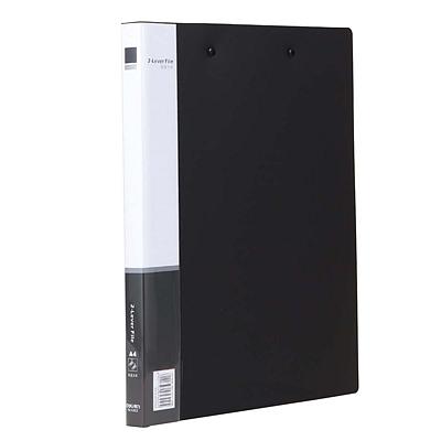 得力 PP文件夹 (黑) A4 双强力夹  5302