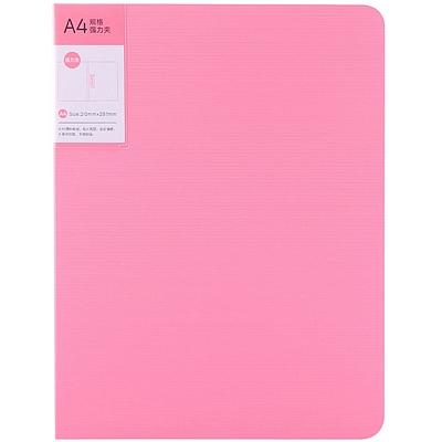 得力 PP单强力文件夹 (红色) A4 单强力夹+插袋  5055