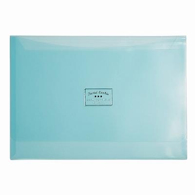 国誉 淡彩曲奇文件袋(双口袋) (蓝) A4横式  WSG-KUCW311B