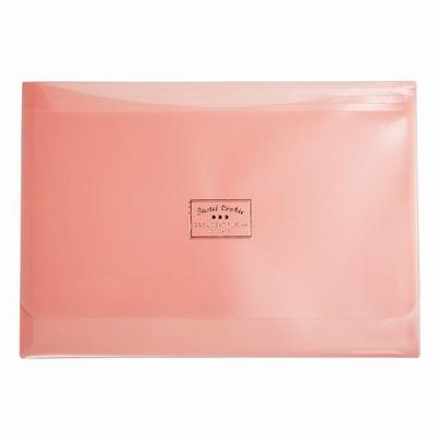 国誉 淡彩曲奇文件袋(双口袋) (粉) A4横式  WSG-KUCW311P