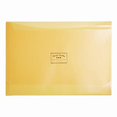 国誉 淡彩曲奇文件袋(双口袋) (黄) A4横式  WSG-KUCW311Y