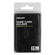 金得利 高級皮紋名片卡盒 (黑) 約15枚  OS9008
