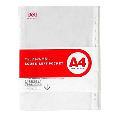 得力 资料备用袋 (透明) A4 11孔 20个/包  5710