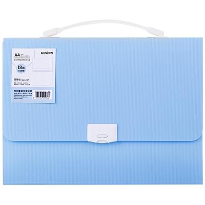 得力 PP按扣风琴包 (蓝色) A4 13格  5237