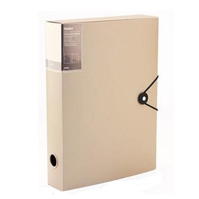 时代良品 绳扣半透明档案盒 (卡其) A4  SD-N201