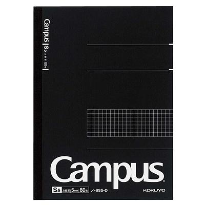国誉 进口Campus无线装订方格笔记本 (黑) A5/80页  NO-108S5-D