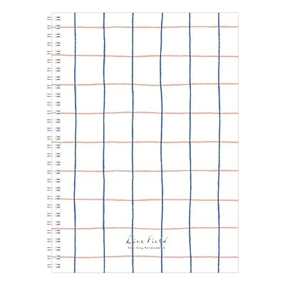 国誉 Line Field格子印象PP面双螺旋装订本 (蓝红) A5/80页  WSG-SNLA580BR