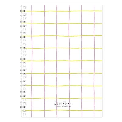 国誉 Line Field格子印象PP面双螺旋装订本 (粉红黄) A5/80页  WSG-SNLA581PY