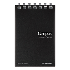 國譽 Campus緊湊型超薄mini活頁本 (黑) A7變形/20頁 5mm方格  WSG-MER520D