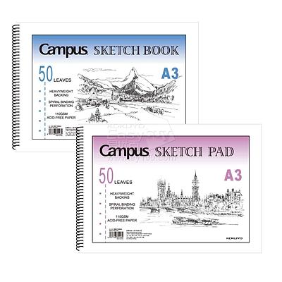 国誉 PP面螺旋图画本 (混色) A3/50页  WCN-PS7051