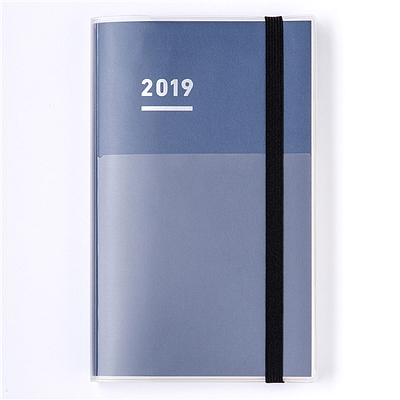 国誉 2019年PP封套三合一自我手帐(绑带款) (藏蓝) A5细长版  NI-JF1DB-19