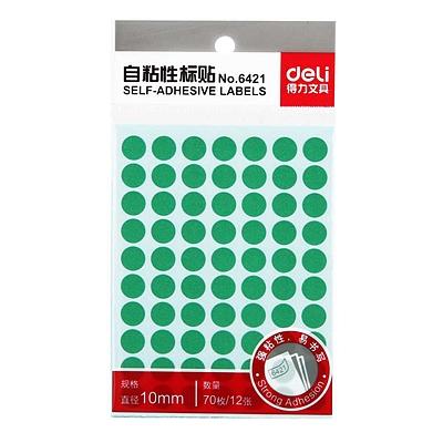 得力 手写标签 (绿) 直径10mm*70枚/张 12张/包  6421