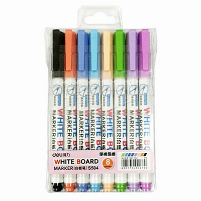得力 白板笔8色套装 (8色) 8支/套  S504