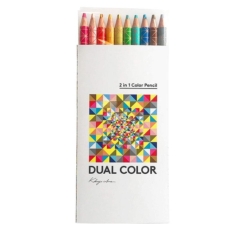 国誉 DUAL COLOR 2色混色彩色铅笔套装 (10色) 10支/盒  KE-SP13