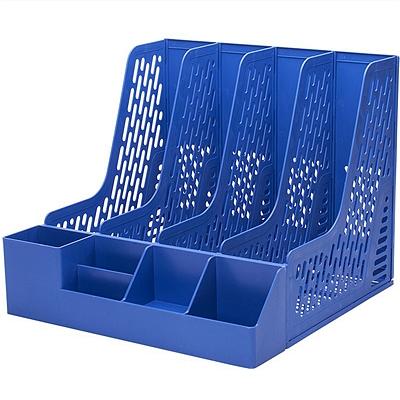得力 四栏文件栏(自带笔筒) (蓝) A4  78981