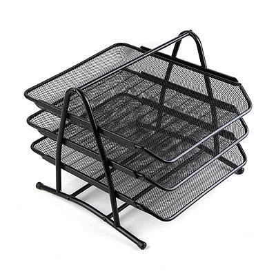 齐心 耐用铁网文件盘 (黑) 三层  B2163-X