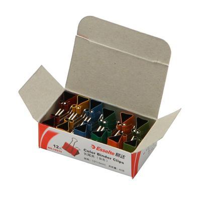易达 长尾夹 (彩) 15mm 12个/盒  10315