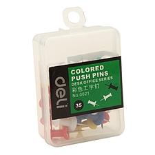 得力 PP盒装工字钉 (彩色) 35枚/盒  0021