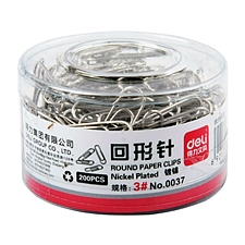 得力 回形针 (银色) 29mm 200枚/盒  0037