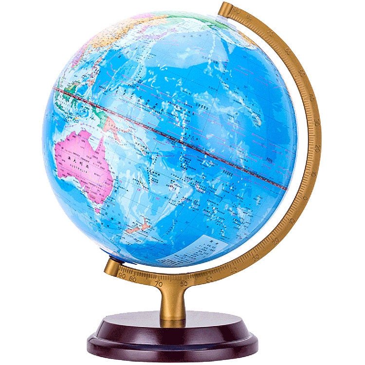 得力 木质底座地球仪 25cm  2176