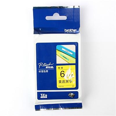 兄弟 标签色带 黄底/黑字 6mm  TZe-611/TZe-Z611