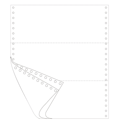 單色電腦打印紙 三等分(2聯)