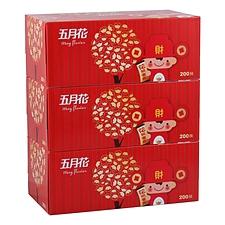 五月花 盒装面巾纸 200抽×3盒  A19613S