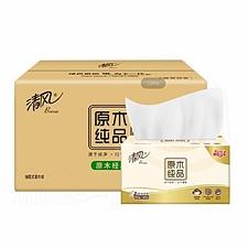 清风 原木纯品2层180抽抽取式面巾纸 6包/提  BR67SC2