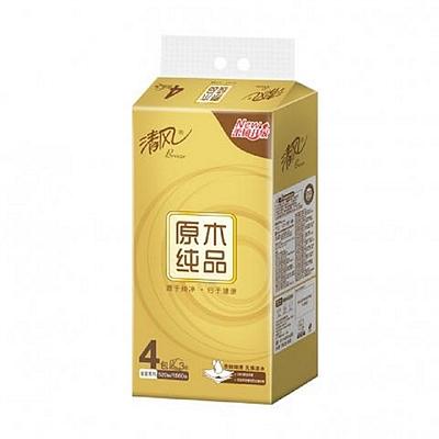 清风 原木金装3层小规格130抽抽取式面巾纸 4包/提  BR43AO