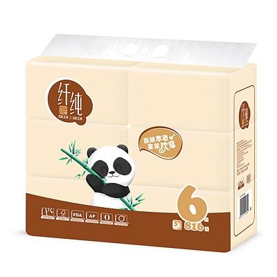 纤纯 竹浆本色3层136抽塑包面巾纸 6包/提  QRB3S6N