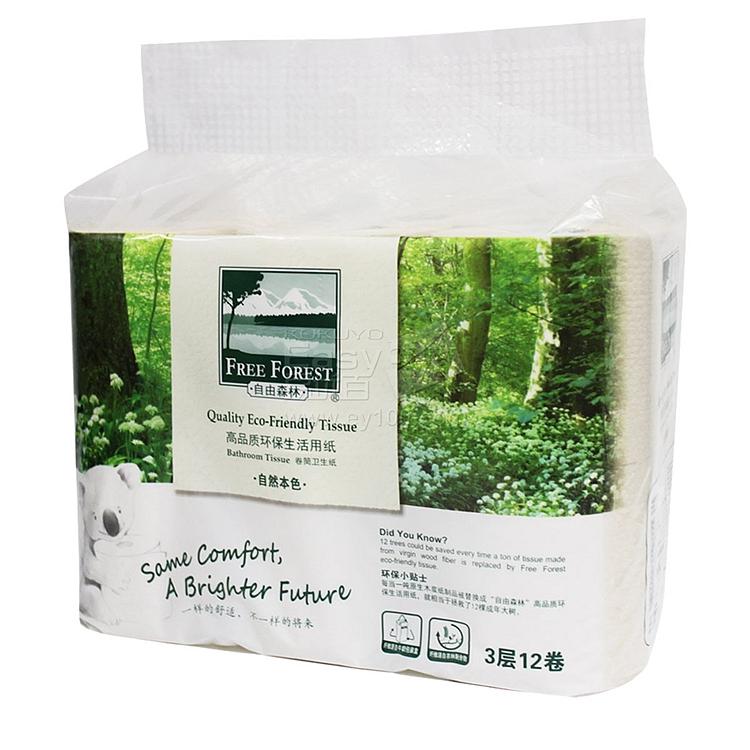 洁云 自由森林3层卷筒式卫生纸 12卷/提 112902