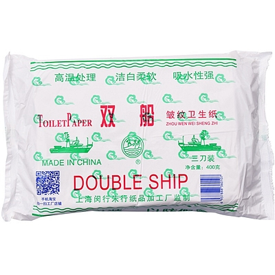 双船 高级皱纹卫生纸 400g  三刀装