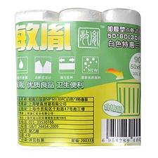 敏胤 加厚型点断式一次性白色垃圾袋(特惠促销三卷装) (白) 50*60cm(30只/卷*3卷)