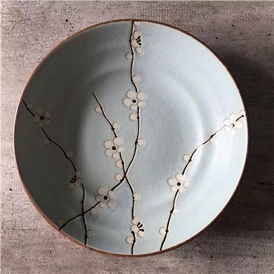美浓烧 日式陶瓷蓝梅7.5深盘 (蓝梅)  4902-75P