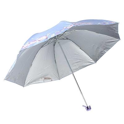 天堂伞 印花银胶三折晴雨伞 (混色) 57cm*8K  336T