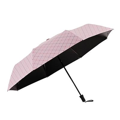三折黑胶格子晴雨伞