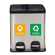敏胤 不锈钢分类双桶垃圾桶 30L  L2030