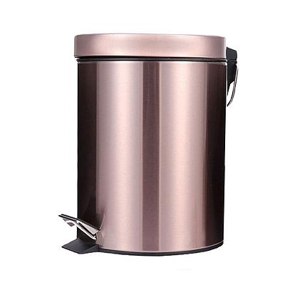敏胤 410不锈钢加厚缓降脚踏式垃圾桶 (玫瑰金) 8L  L2108