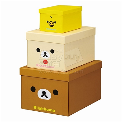 锦宫 轻松小熊收纳盒套装 (混色) 轻松小熊M号+小白熊S号+小黄鸡XS号  4060RK-3