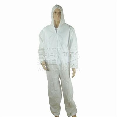 国产 一次性带帽无纺布防护服 (白) XL 单件装  普通款