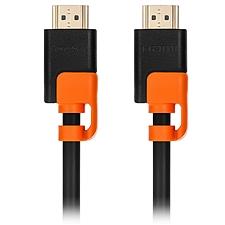 包爾星克 HDMI 3D高清2.0版抗搖擺耐折彎 (黑配橘) 1米  H2GAR0010