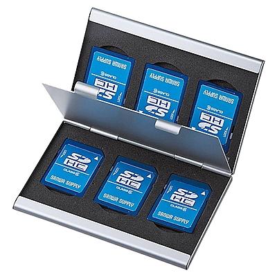 山业 SD/CF卡专用铝制两面收藏盒 (银白) 最大可收纳CF卡4张或microSD卡8张  FC-MMC5SD