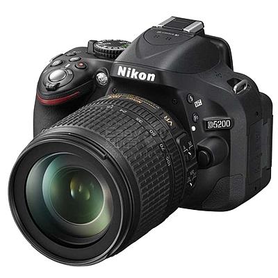 尼康 单反套机 (黑) (AF-S DX 18-105mm f/3.5-5.6G ED VR 防抖镜头)  D5200