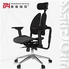 普格瑞斯 人体工学双背办公椅 (黑色) 进口抗菌网布  PH-21BH