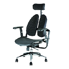 普格瑞斯 人体工学双背办公椅 (黑色) 进口抗菌网布  PH-04BH