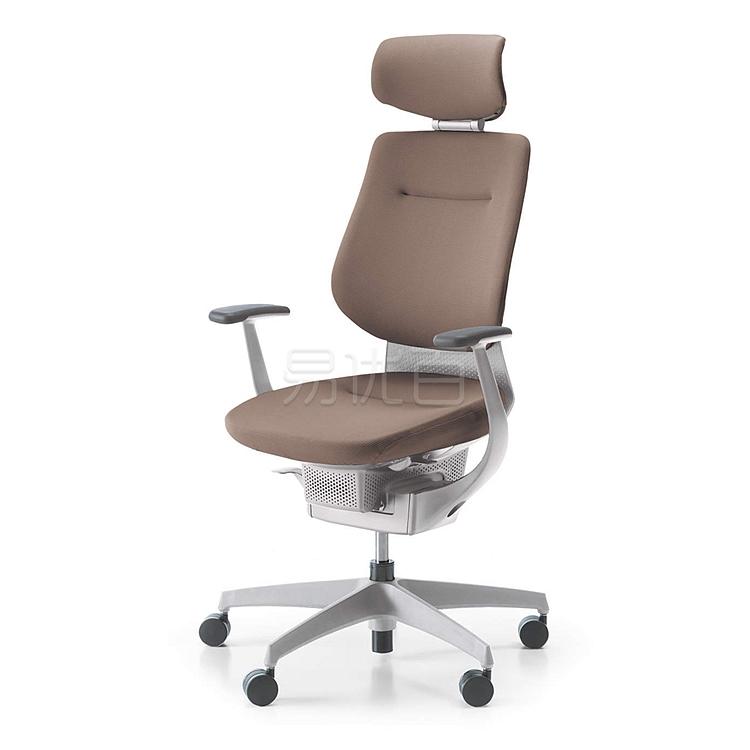 国誉 ing系列高背办公椅 (浅咖啡G4M4+白框) 带头靠  CR-GW3205E1