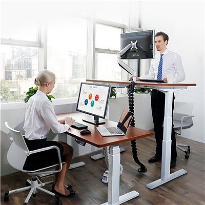 乐歌 人体工学坐立交替三段式电动升降桌 胡桃木+白色桌腿  E3D