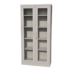 顺发 铁皮通体玻璃对开门柜 (灰白) 900*400*1850mm  WJ-1251